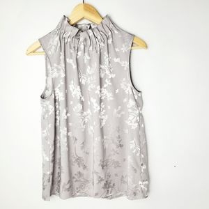 Ann Taylor Sliky Gray Sleeveless Top SZ M
